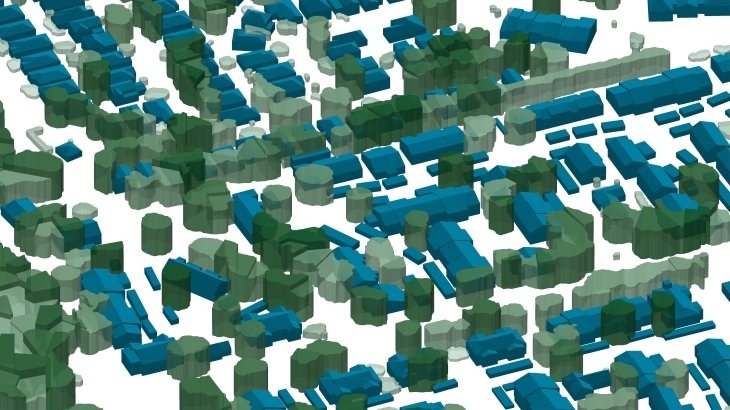3D buildings and 3D trees for solar energy calculation